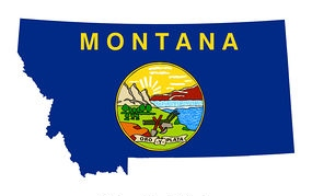 State Flag and Map of Montana